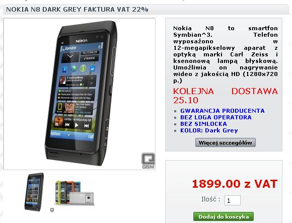 Nokia N8 najtańsza