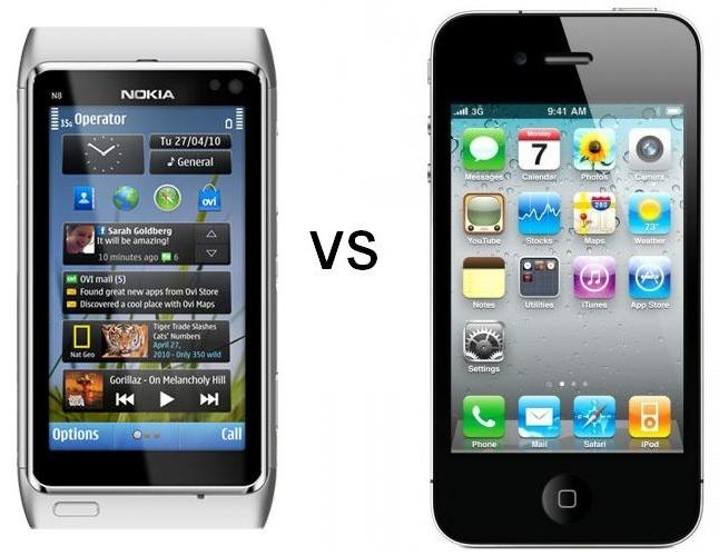 Nokia N8 versus iPhone 4