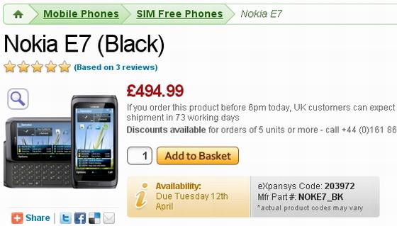 Nokia E7 UK