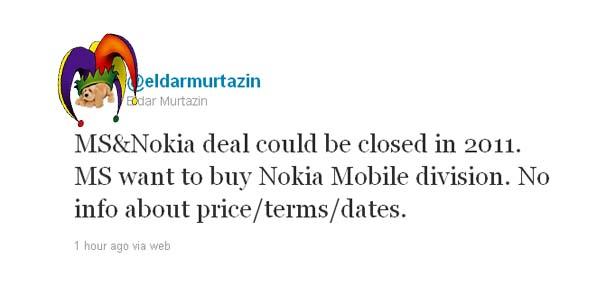 Eldar tweet Nokia Microsoft deal
