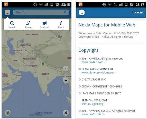 Nokia Maps for mobile web
