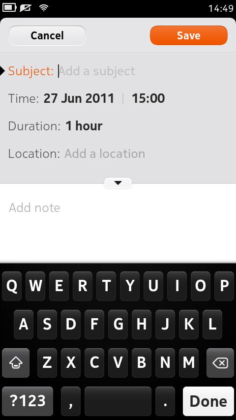 Nokia N9 kalendarz