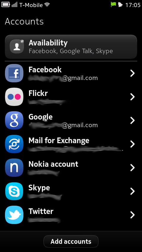 Nokia N9 konta