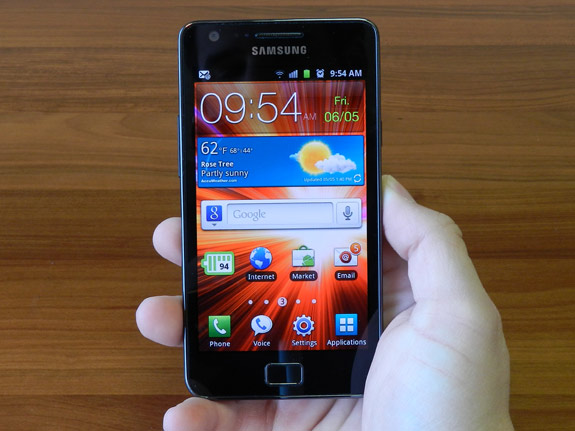 Samsung Galaxy S II on hand