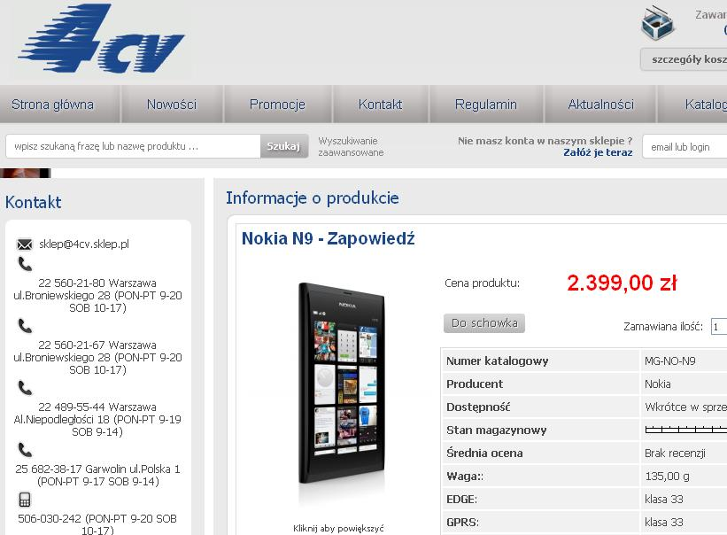 Nokia N9 sklep 4CV