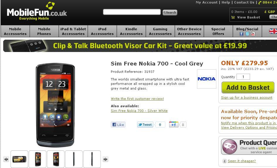 Nokia 700 preorder