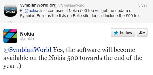 Nokia Belle Nokia 500 twitt