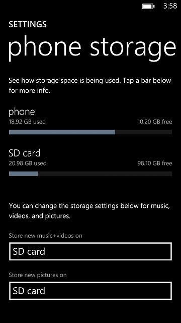 Lumia 1520 128GB Sandisk Card